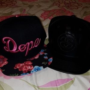 Stussy pu leather cap and DOPE floral cap